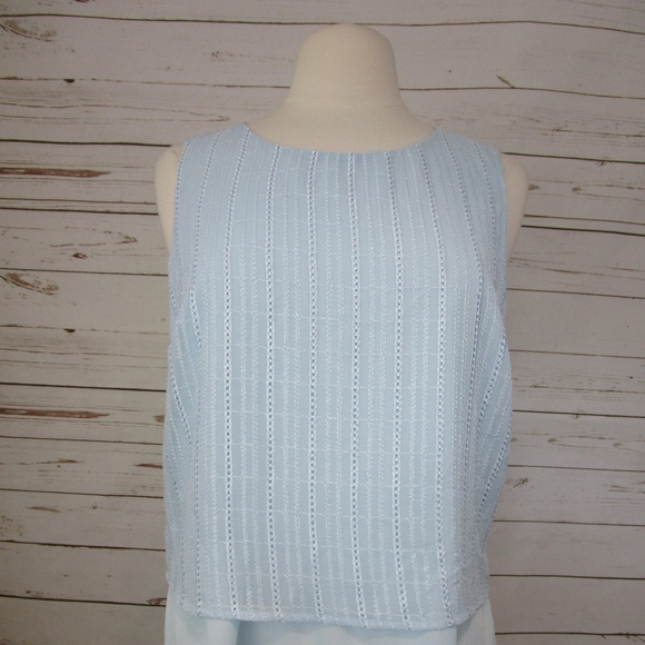 8404d1e025e2 Maison Jules Tops | Light Blue Layered Sleeveless Top L34 | Poshmark